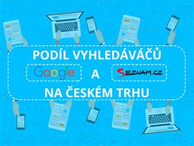 Podíl vyhledávačů Google a Seznam na českém internetu